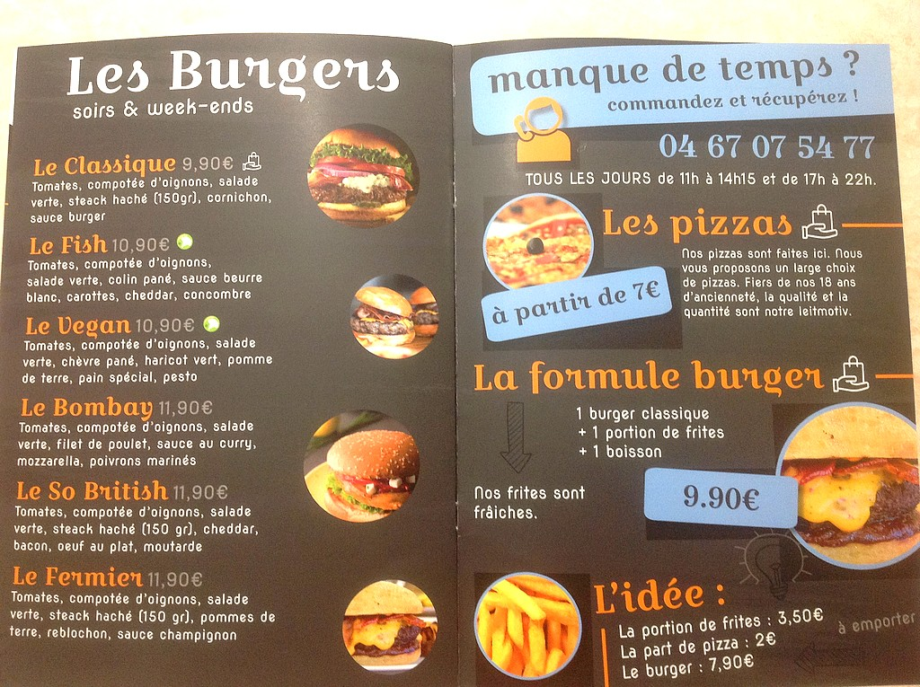 Menus restauration rapide